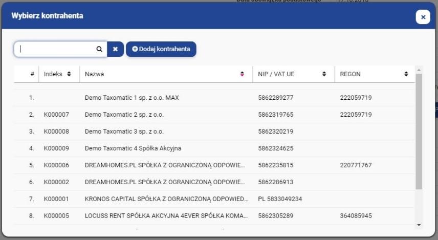 Nagłówek: dane nabywcy, odbiorcy i płatnika