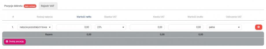 Zakładka rejestr VAT